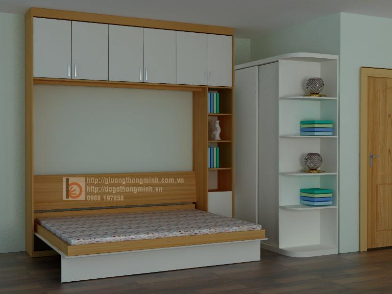 giường gấp kết hợp kệ trang trí