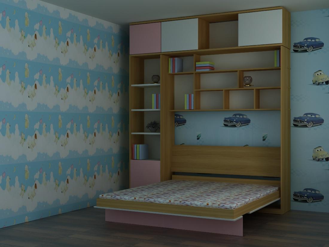 giường gấp với giá sách bên trong
