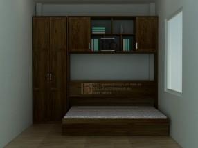 Giường thông minh sang trọng với màu gỗ óc chó